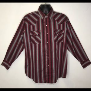 Plains Western Wear striped long sleeve pearlsnap